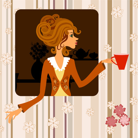 Girl with a cup of coffee Stock Vector - 8076365