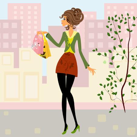 negozio: ragazza con lo shopping Vettoriali