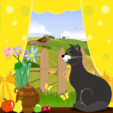 Cat and bird in the kitchen Vector
