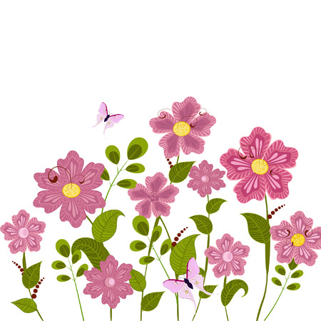 Romantic floral lawn Vector