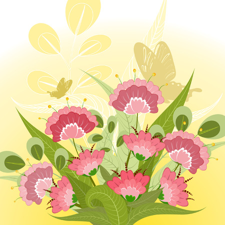 Romantic floral bouquet with decorative butterflies Vector