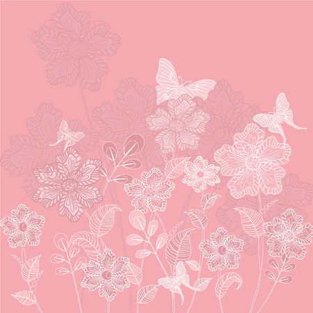 Romantic floral decorative background with butterflies Vector