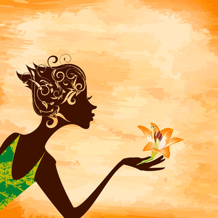 Profile of a girl with a flower on grunge background Vector