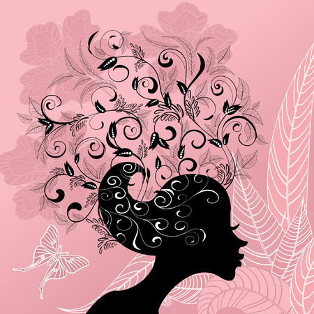 Profile of a girl with hair decorated with flowers Vector