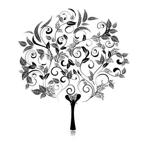 stencil art: Abstract tree romantic fancy