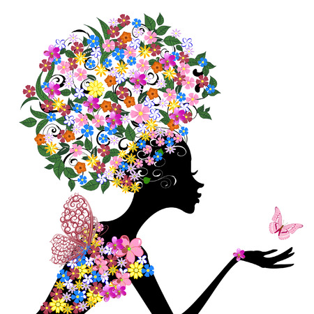 trendy girl: Girl with flowers on her head