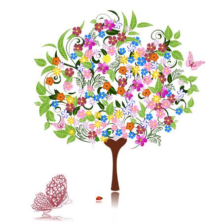 papillon rose: arbre abstraite avec des fleurs