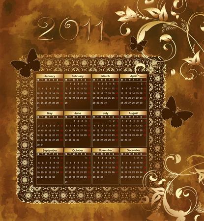 Calendar for 2011 grunge pattern Stock Vector - 8163058