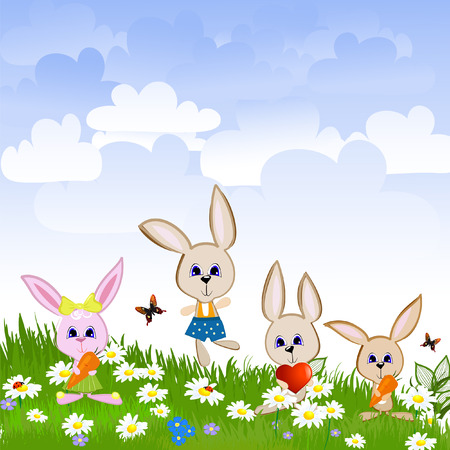 Hares on the lawn Vector