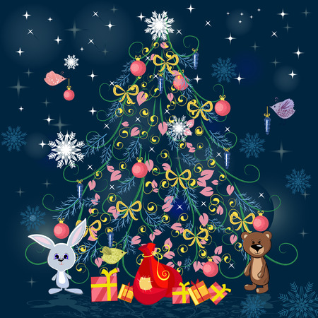 year of rabbit: Christmas tree with toys