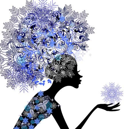 wintermode: Lady Winter mit Schneeflocken Illustration