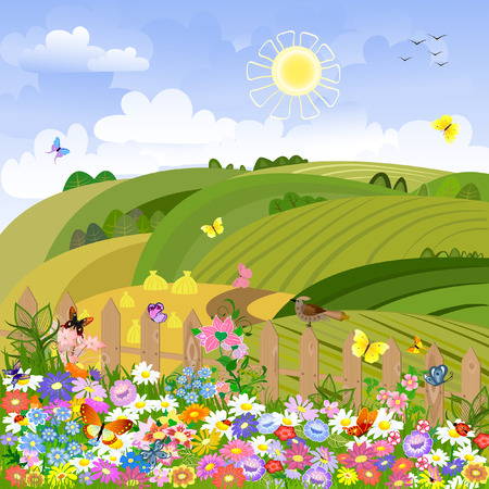 Rural landscape on a sunny day Vector