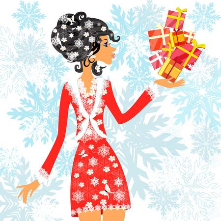 Santa girl with presents Stock Vector - 8221692