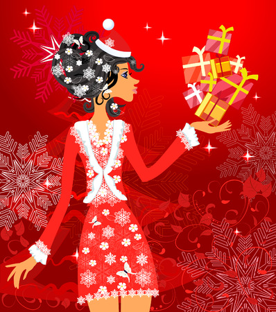 Santa girl with presents Vector