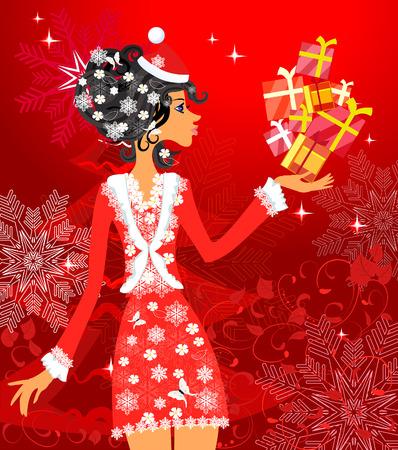 Santa girl with presents Vector Illustration