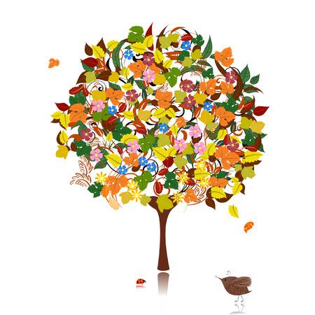 ornamental tree in autumn Vector