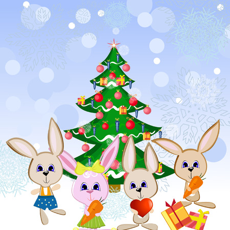 Christmas hares under the fir tree Stock Vector - 8287177