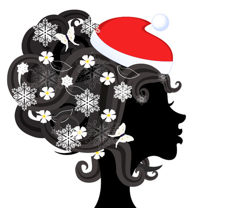 Silhouette of a girl in santa Profile Stock Vector - 8287171