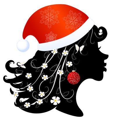 Silhouette of a girl in santa Profile Vector