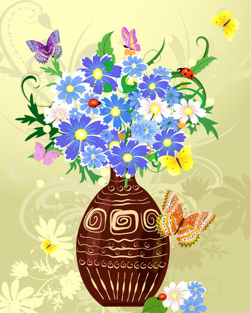 wild flowers in a vase Stock Vector - 8287187