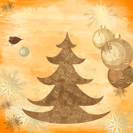 Christmas grunge background with a tree Vector
