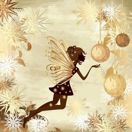 elegance: Christmas grunge background with a fairy