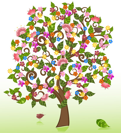 summer abstract floral tree Vector
