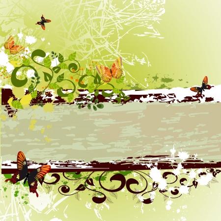 grunge banner design with butterflies Stock Vector - 8395256