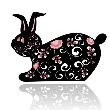 Decorative black rabbit Vector