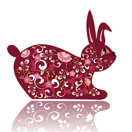 Decorative red flower bunny Vector