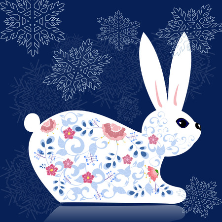 bunny xmas: New decorative flower bunny Illustration