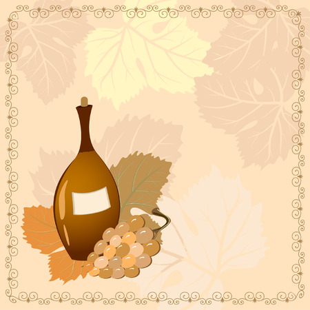 bottle of wine with grapes Vector
