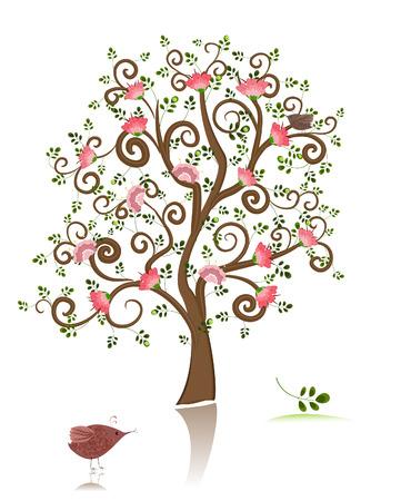 the season of romance: flowering ornamental tree  Illustration