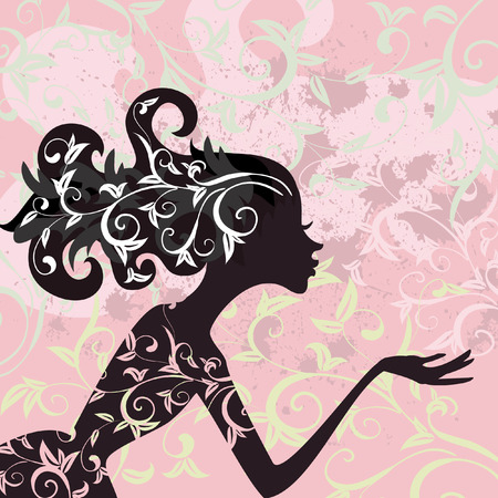 hair design salon: Glamour girl hair ornamentv Illustration