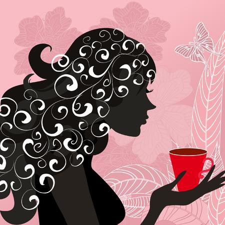 girl with the flower tea Vector