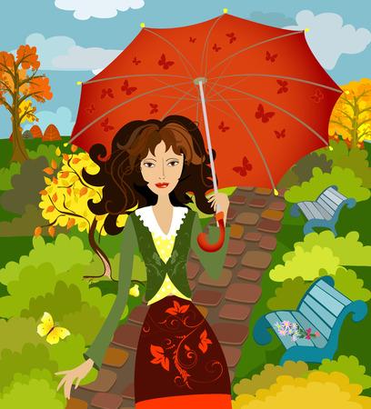 girl fall under the umbrella Vector