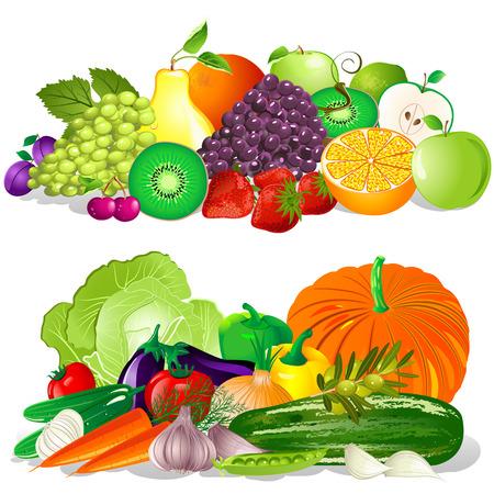 witaminy: Owoce i warzywa Ilustracja