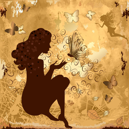 grunge girl with butterflies Stock Vector - 8495257