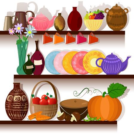 ustensiles de cuisine: Maison sur les tablettes de vaisselle Illustration