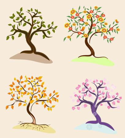 beautiful summer growth: trees seasons Illustration