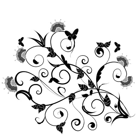 floral design with butterflies Vector