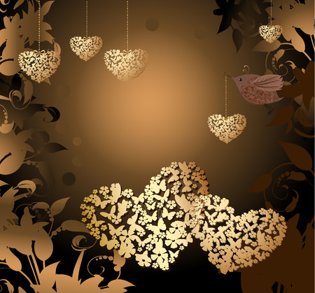 gold valentines with a bird Stock Vector - 8540654