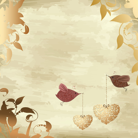wedding frame: gold valentines with a bird Illustration