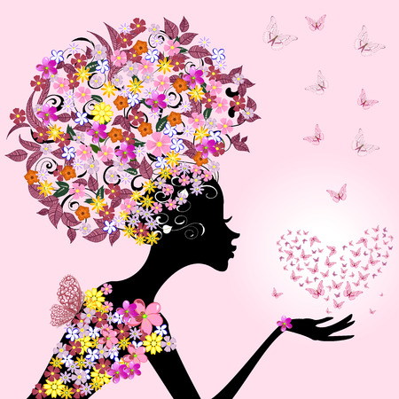 flower silhouette: girl with a valentine of butterflies Illustration