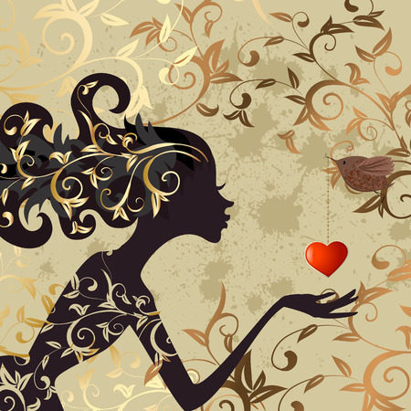 girl and a bird with a valentine Stock Vector - 8568944