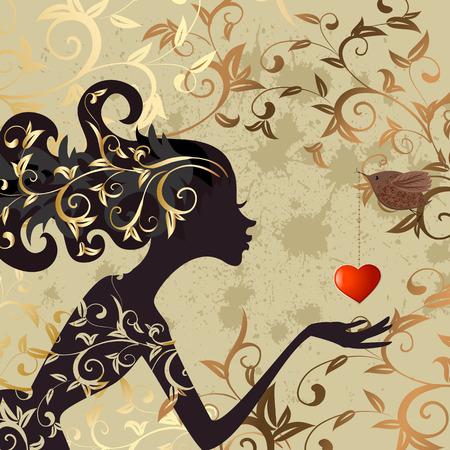 las niñas y un pájaro con un San Valentín