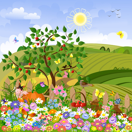 Rural landscape with a fence Stock Vector - 8568950