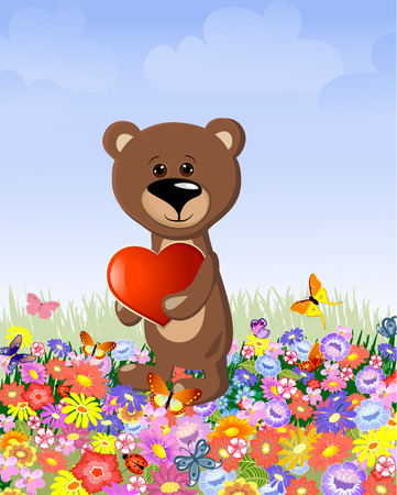 bear with a valentine Stock Vector - 8663782