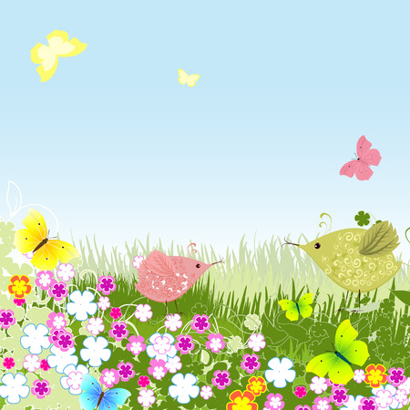 birds on the lawn Vector