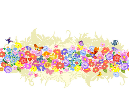 herbaceous: herbaceous border seamless Illustration